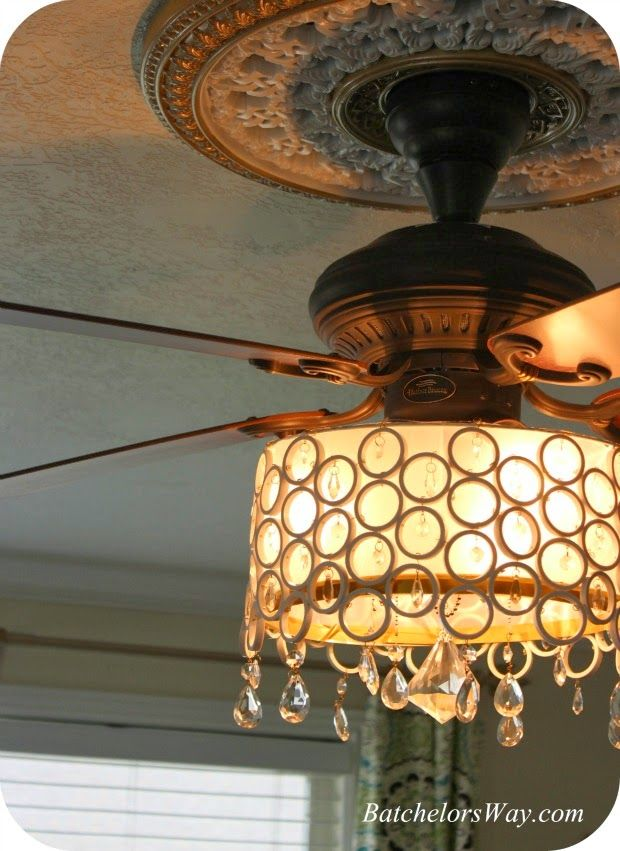 Chandelier ceiling fan light cover diy made with pvc pipe and crystals instructions on how to for Ceiling fan or chandelier in master bedroom