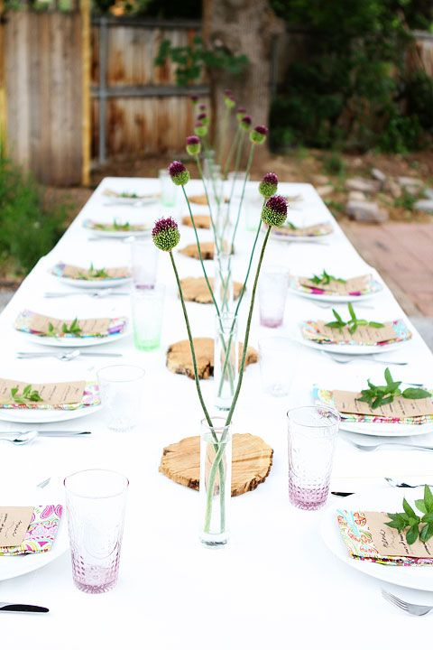 Summer Outdoor Dinner Party on twopeasandtheirpod.com. Menu: hummus, babaganoush, veggies w/ grilled pita bread, watermelon/feta/mint salad, etc.