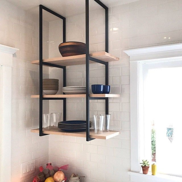 Ceiling Mounted Floating Shelf Brackets Etsy Ceiling Shelves Glass Shelves Kitchen Metal Shelves