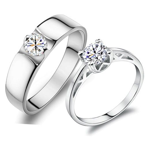 Personalized 925 sterling silver wedding couple rings set ...
