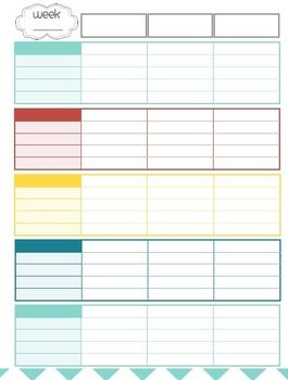 Teacher Planner / Organizer (red, blue, teal, yellow theme)