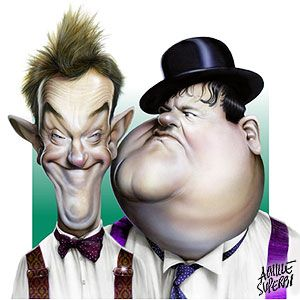 Achille Superbi 's caricature illustration of Laurel and Hardy