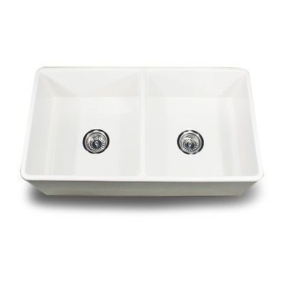 """Fireclay Double Bowl 33"""" Apron Front Farmhouse Sink White - Made In Italy"""