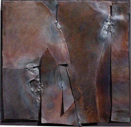 Alberto Burri, dalla concretezza reale all' incanto della forma Alberto Burri, Ferro, 1959, ferro su tela, 33,5x35 cm