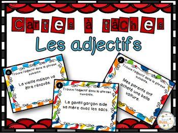 Cartes à tâches sur les adjectifs qualificatifs.