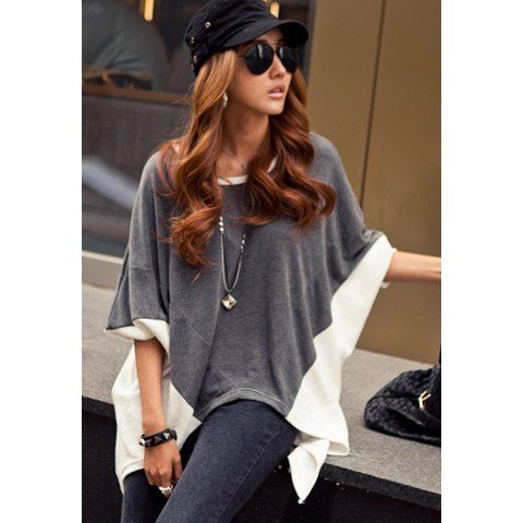 De cuello redondo-suelta la cola de pato de la Mujer T-shirt, gris, un tamaño en camisetas y las camisetas de los colores mezclados   DressLily.com