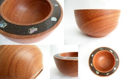 Pepper Tree Bowl with Sand and Paua Shell inlay set in Resin.    140mm Diameter, 70mm High