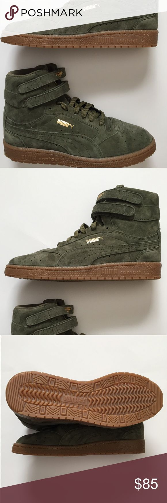 🆕Puma Ski II High Olive High Top Sneakers 6.5 New without box! Women's PUMA Athletic Shoes  Size 6.5M  Style 364395-02 Sky II Hi Nubuck Women's Sneakers First introduced in 1980 and played on the court by all-stars, the Sky II Hi was PUMA's original basketball shoe. This re-issue brings the OG silhouette to life in all-over nubuck. Features: Nubuck upper Lace closure for a snug fit Dual hook-and-loop straps for a signature look Rubber outsole for grip PUMA Formstrip at both sides PUMA Logo…