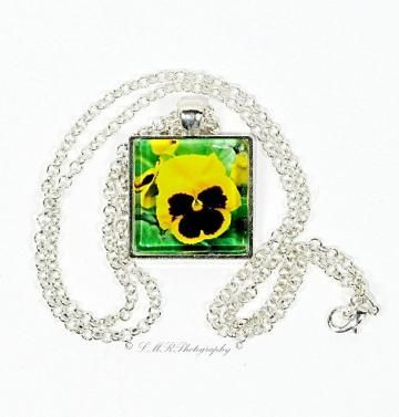 Photo Necklace, Glass Tile Pendant, Yellow Pansy Necklace, Flower Jewelry by LMRPhotography for $20.00 #ssps #zibbet