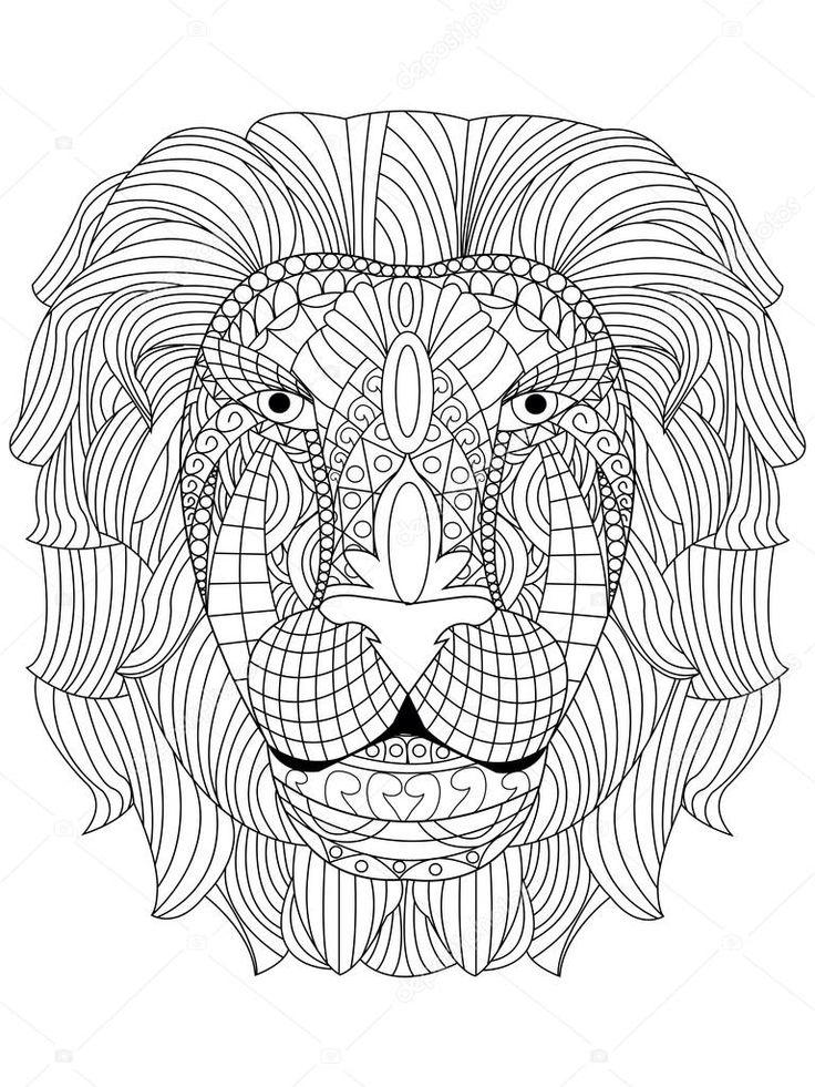 Descargar - Cabeza de León para colorear vector para adultos — Ilustración de stock #114626360