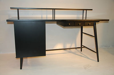 Paul McCobb Lacquered Desk and Chair in Black w Brass Fittings, 1950s