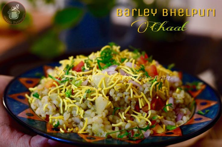 A spicy, tangy and healthy Bhelpuri Chaat with a delectable combination of the healthy barley,veggies, chutneys and a crunchy Shev. A tongue tickler and a healthy option for breakfast.