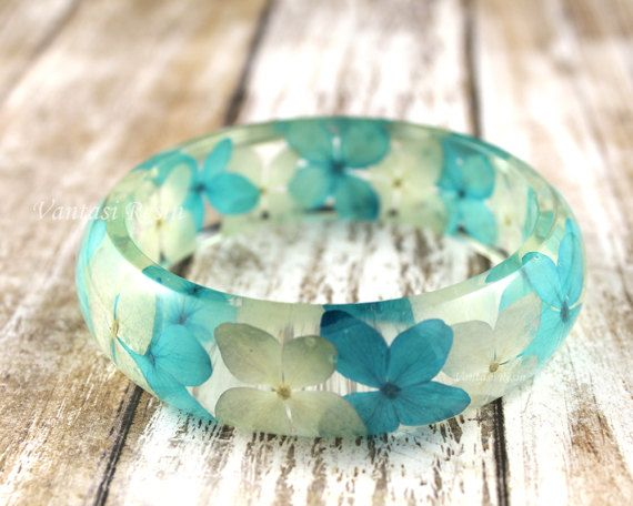 clear Natural flowers resin bracelet bangle  leafs by VantasiResin