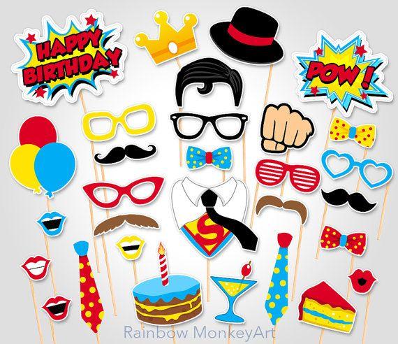 Cabina de fotos de cumpleaños de superhéroes por RainbowMonkeyArt …