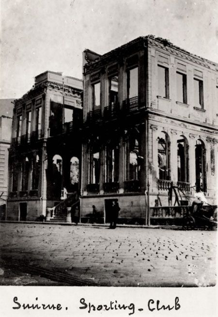 Smyrna 1922 The Sporting Club that's been burnt in the great fire caused by fugitive Greeks and Armenians...