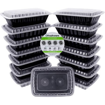 Freshware 15-Pack 1-Compartment Lunch Bento Box Reusable and Microwavable Food Container with Lids, YH-8088 - Walmart.com