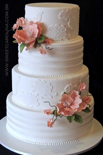 """Wedding Cakes Casamentos - Sweet Carolina """"The Art of Cake"""", Bolo casamento, branco, flores em acucar cor de rosa antigo, listras, perolado, renda, andares"""