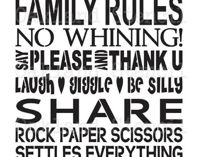 POCHOIR primitif ** famille ne règles aucun pleurnicher ** grand 12 « x 24 » pour signes de peinture, aérographe, artisanat, Art pariétal et Decor primitif