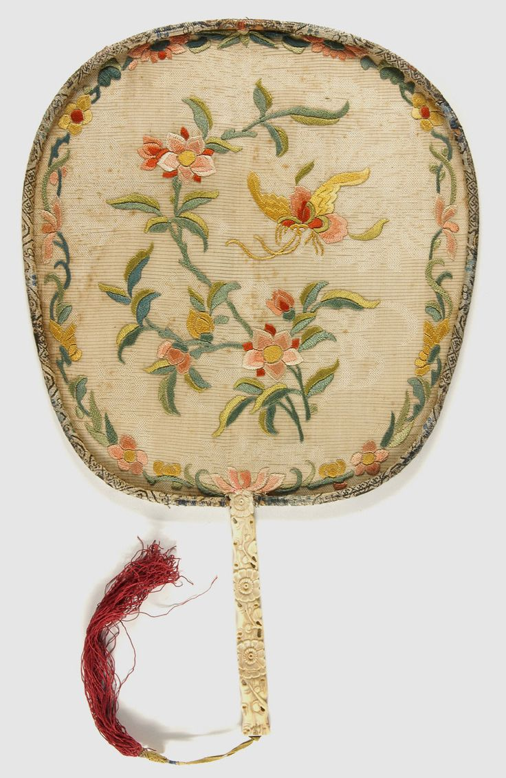 Philadelphia Museum of Art - Collections Object : Fan embroidered silk with carved bone handle China