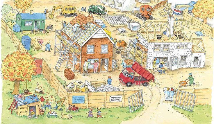 Praatplaat Bas - Bouwplaats (Getekend door Dagmar Stam) - praatplaat of vertelplaat op pinterest geeft véééél praatplaten !!!