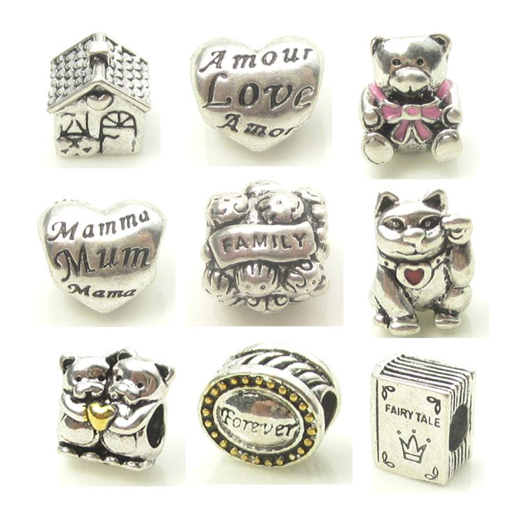 Silver Charms Genuine Official Brand Beads Mixed Lot Family House Charm MOM Love Heart Beads Pink Bear Lucky Cat Book Design