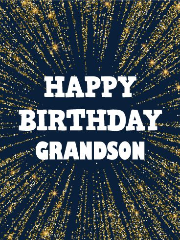 Golden Spangle Happy Birthday Card for Grandson: Every superstar grandson deserves a spectacular surprise on his birthday! This birthday card was designed to help him celebrate in a big way! Golden bursts of light surround your best wishes for a happy birthday, which will surely make him smile bright, knowing you took the time to make him feel special!