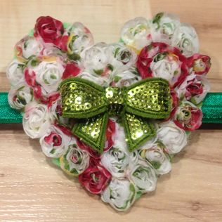 Large Whimsical Heart - Tricolor White and Green Bow