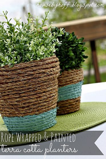 Rope-Wrapped Painted Pots!