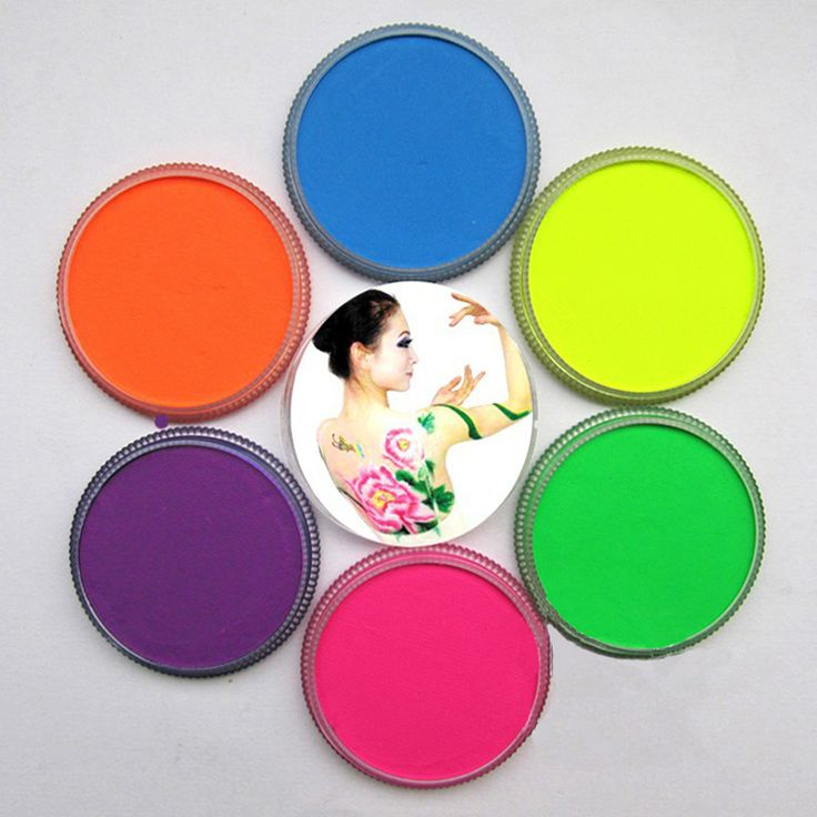 Neon body paint 6 colors for choice colored drawing pigment 30g /pc water based face makeup cream paste Halloween UV glow paint