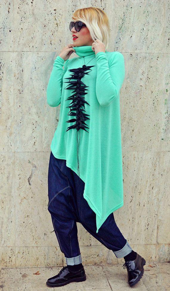Asymmetrical Emerald Top / Extravagant Long Emerald Top / Funky Acrylic Top / Asymmetrical Long Top / Emerald Loose Tunic TT107