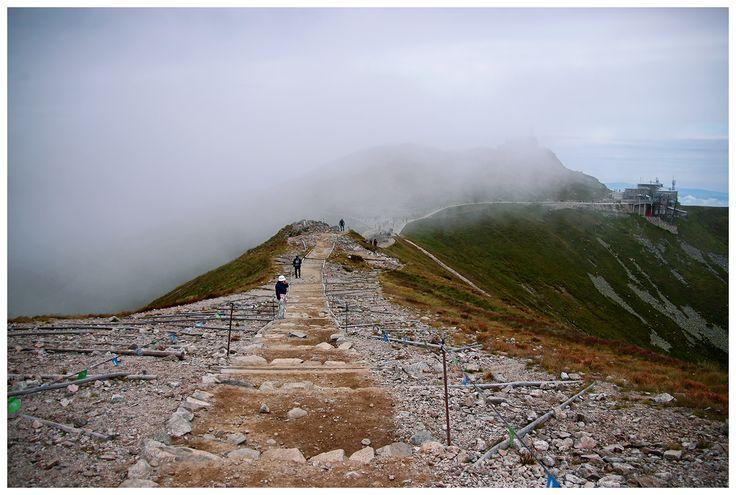 Czerwony szlak w stronę Świnickiej Przełęczy - widok na Kasprowy Wierch.