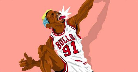 Chicago Bulls legend Dennis Rodman aka The Worm illustrated by Muideen Ogunmola aka Blocknation.