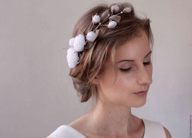 Купить Украшение венок на голову с цветами и жемчугом Сваровски - венок на…