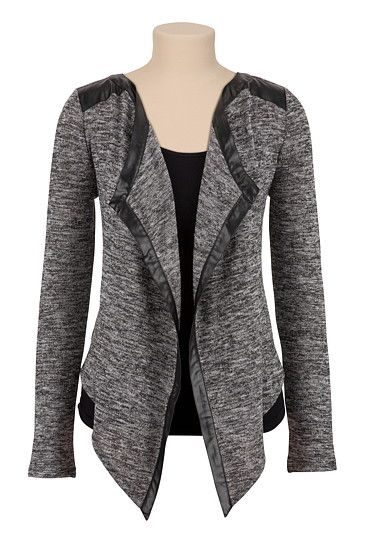 Faux Leather Trim Open Front Cardiwrap available at #Maurices
