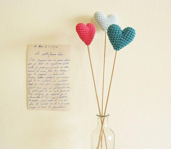 Wedding Table Decor Hearts On Sticks Crochet Wedding by cherrytime