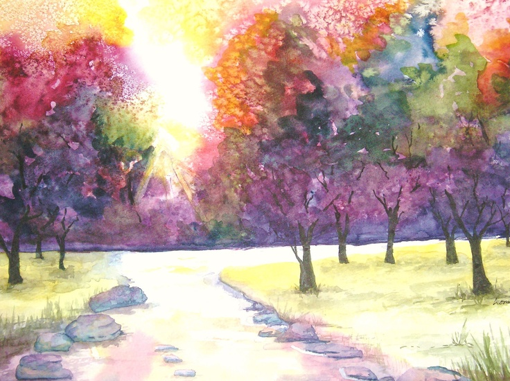 Watercolor Pictures To Painting | Original landscape watercolor painting Fiery by lonniflowersart