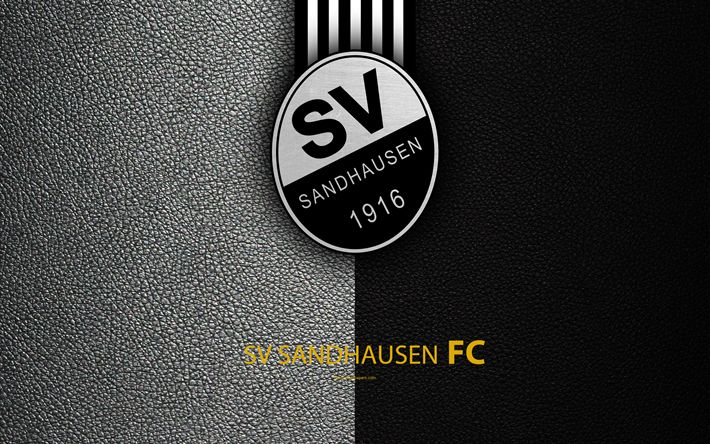 Download wallpapers SV Sandhausen FC, 4K, Zandhausen, Germany, leather texture, German football club, logo, Bundesliga 2, second division, football