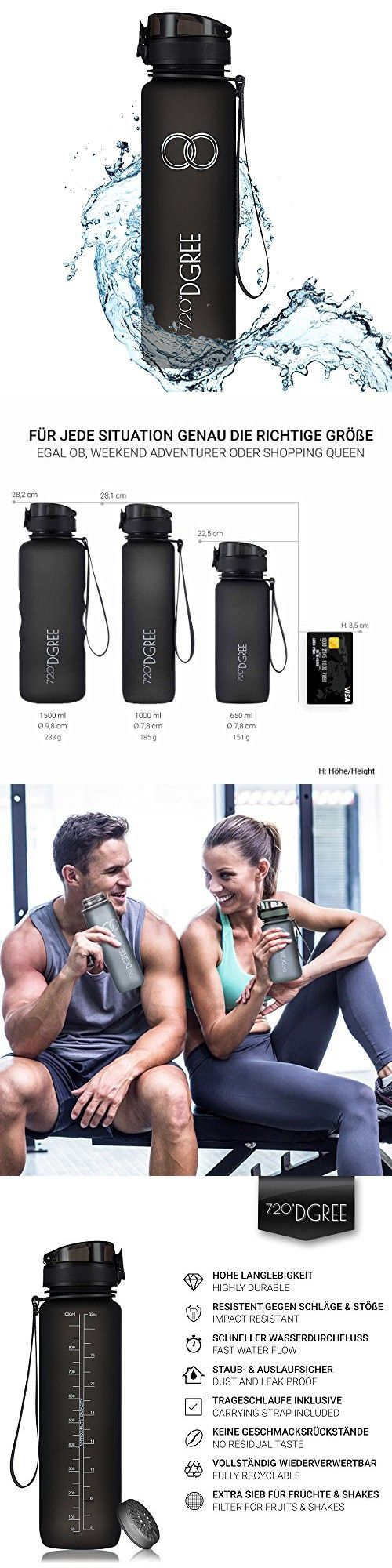 """Water Bottle """"uberBottle"""" by 720°DGREE - 32 oz, 1 liter 