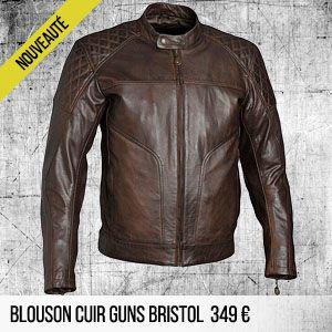 blouson moto cuir vintage guns bristol marron