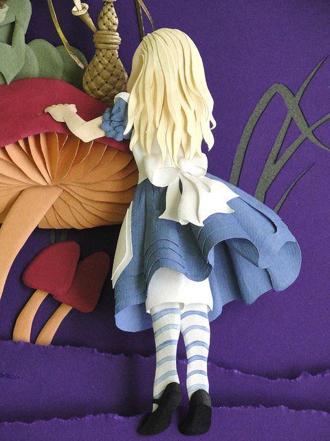Alice in Wonderland Paper Sculpture by Papernoodle #fairytales #paper #sculpture #alice #wonderland #mushroom