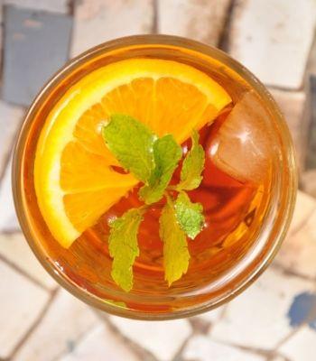 orange and green tea mojito