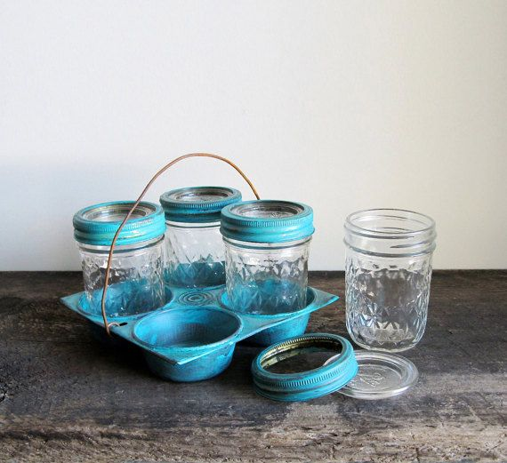 Upcycled Vintage Muffin Tin with Vintage Ball Pint by cattales