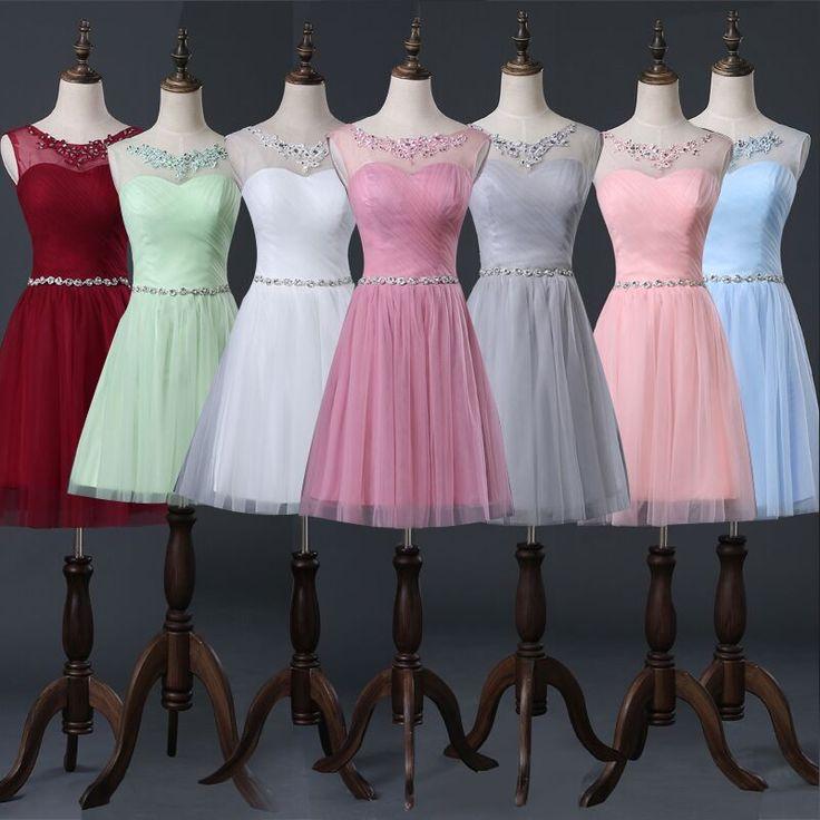 >> Click to Buy << Robe de soiree 2017 Scoop Neck Crystal Short Bridesmaid Dress 2016 Short Party Dress Lace Up vestido de festa prom dresses #Affiliate
