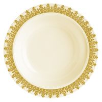 Elegant Ornament Gold Trim and Ivory Plastic Dessert Bowl - Posh Party Supplies