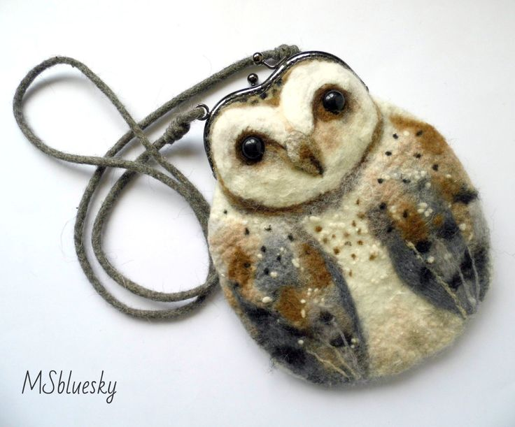 Barn OWL Wet Felted coin purse,Shoulder Bag,Ready to Ship with bag frame metal closure Hand made  gift for her. $68.00, via Etsy.