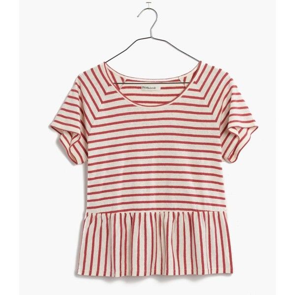 MADEWELL Swing Panel Tee in Stripe ($50) ❤ liked on Polyvore featuring tops, t-shirts, vintage canvas, vintage t shirts, crop top, pink t shirt, striped t shirt and vintage striped t shirt