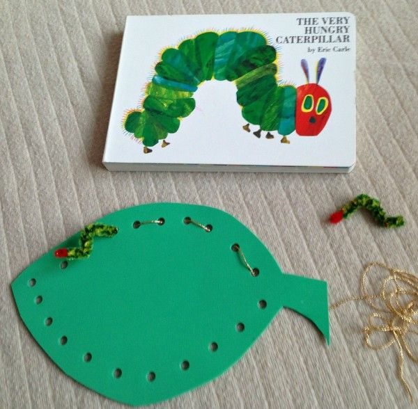 The Very Hungry Caterpillar Threading - Let children punch holes around the outside of the leaf with a single hole punch... then thread.