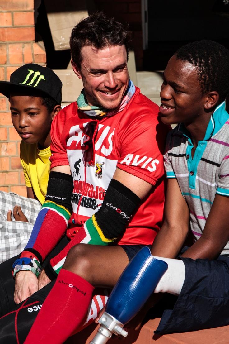 With Junior (Mavuso) & Omar on arrival at Comrades House, Pietermaritzburg during Unogwaja 2012