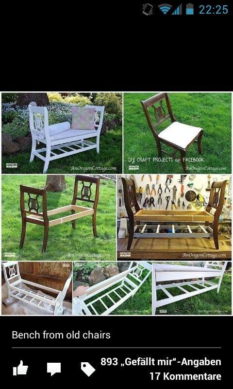 Bank aus zwei Stühlen einfach selbst gemacht