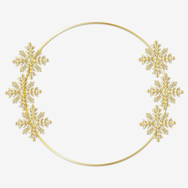 Golden Frame Snowflakes Clipart Png Vector Element Gold Golden Frame Snowflakes Frame Png And Vector With Transparent Background For Free Download Snowflake Clipart Snowflakes Frame Clipart